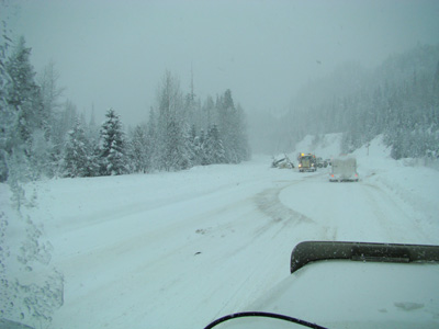semi off the road by Valemount BC