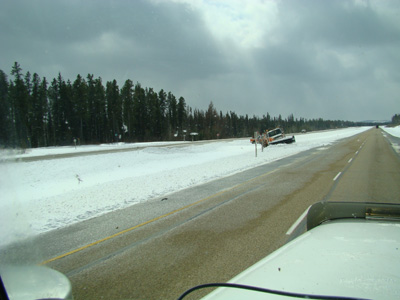 plow truck in the ditch outside of Edmonton Alberta Canada