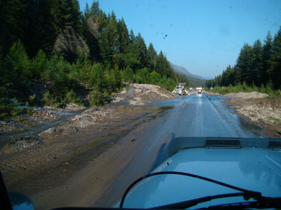 mud slide in mount robson national park