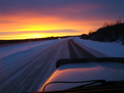 Alberta sunrise through the windshield
