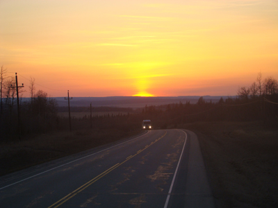 Sunset between Fort St. John and Fort Nelson, BC