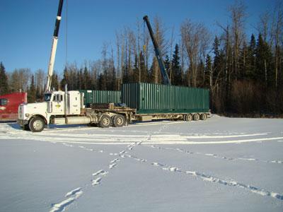 Unloading container in Wabasca, Alberta