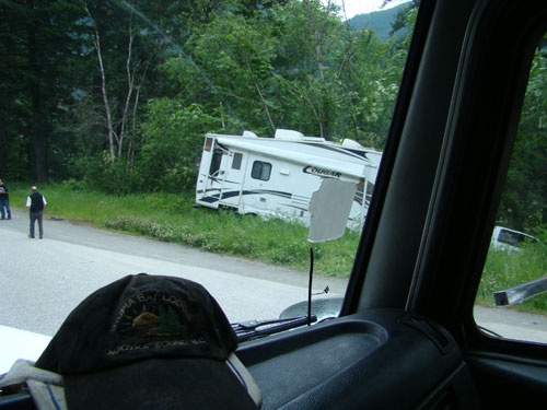 Fifth wheel travel trailer involved in a head on collision near Alexander Bridge, BC