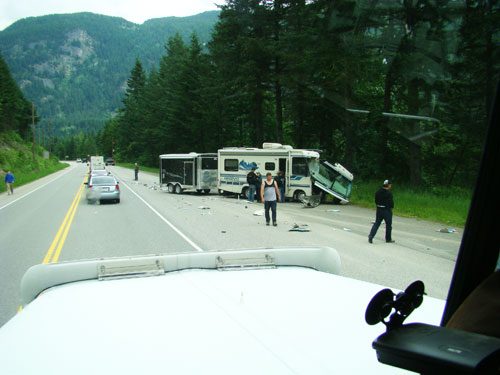 Motor home involved in a head on collision near Alexander Bridge, BC